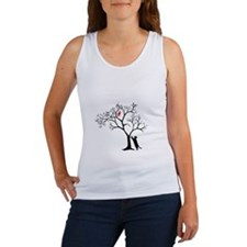 Red Bird in Tree with Cat Women's Tank Top