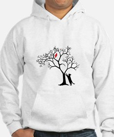 Red Bird in Tree with Cat Hoodie