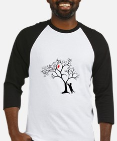 Red Bird in Tree with Cat Baseball Jersey