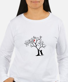 Red Bird in Tree with Cat T-Shirt