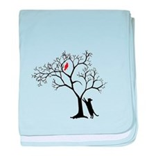 Red Bird in Tree with Cat baby blanket