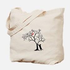 Red Bird in Tree with Cat Tote Bag