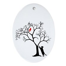 Red Bird in Tree with Cat Ornament (Oval)