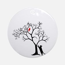 Red Bird in Tree with Cat Ornament (Round)