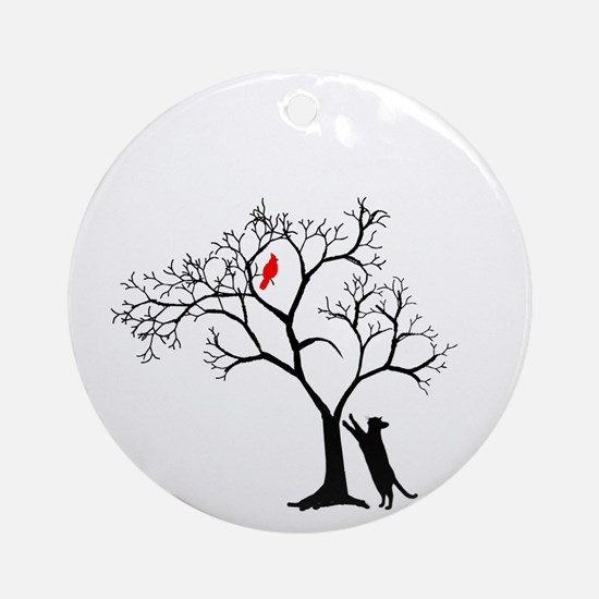 Red Cardinal in Tree with Cat Round Ornament