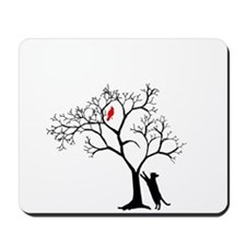 Red Bird in Tree with Cat Mousepad