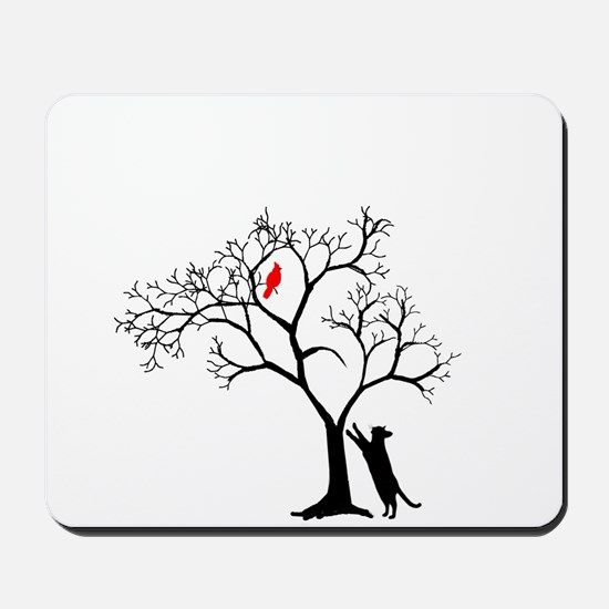 Red Cardinal in Tree with Cat Mousepad