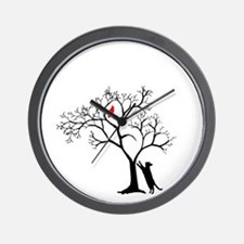 Red Bird in Tree with Cat Wall Clock