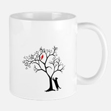Red Bird in Tree with Cat Mug