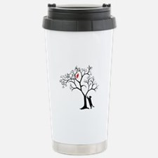 Red Bird in Tree with Cat Travel Mug