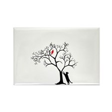 Red Bird in Tree with Cat Rectangle Magnet
