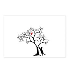 Red Bird in Tree with Cat Postcards (Package of 8)