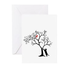 Red Bird in Tree with Cat Greeting Cards (Pk of 10