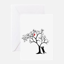 Red Bird in Tree with Cat Greeting Card