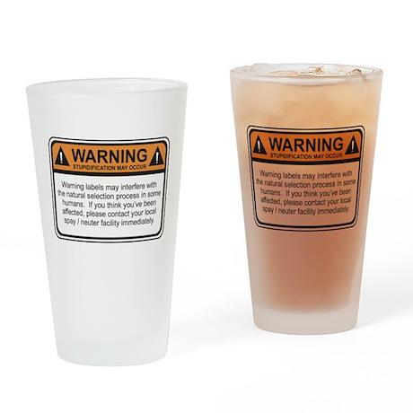 Warning Label Drinking Glass