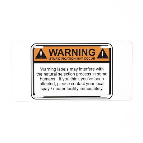 Warning Label Aluminum License Plate