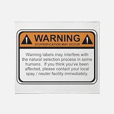 Warning Label Throw Blanket