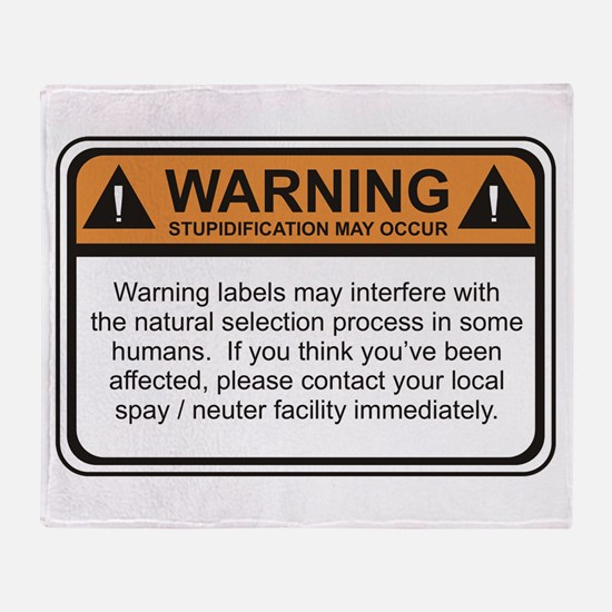 Warning Label Throw Blanket