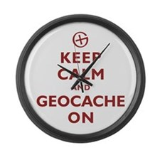 Keep Calm and Geocache On Large Wall Clock