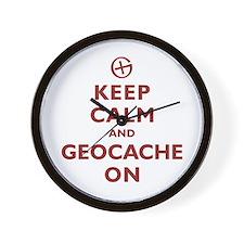 Keep Calm and Geocache On Wall Clock