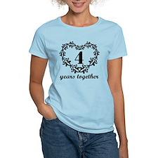4th Anniversary Heart T-Shirt