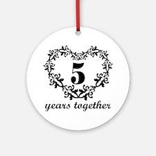 5th Anniversary Heart Ornament (Round)