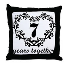 7th Anniversary Heart Throw Pillow