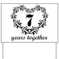 7th Anniversary Heart Yard Sign