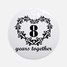 8th Anniversary Heart Ornament (Round)