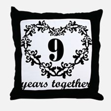 9th Anniversary Heart Throw Pillow
