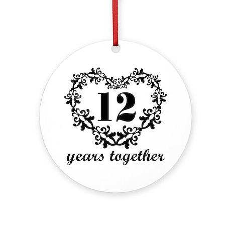 12th Anniversary Heart Ornament (Round)
