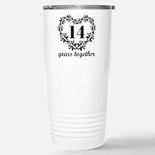14th Anniversary Heart Travel Mug