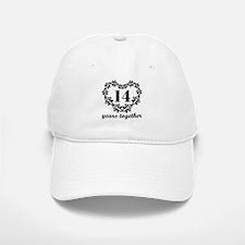 14th Anniversary Heart Baseball Baseball Cap