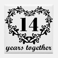 14th Anniversary Heart Tile Coaster