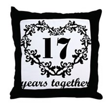 17th Anniversary Heart Throw Pillow