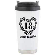 18th Anniversary Heart Travel Mug