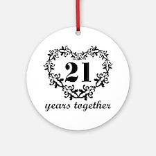 21st Anniversary Heart Ornament (Round)