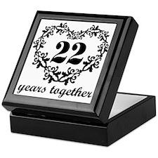 22nd Anniversary Heart Keepsake Box