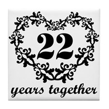 22nd Anniversary Heart Tile Coaster
