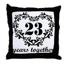 23rd Anniversary Heart Throw Pillow