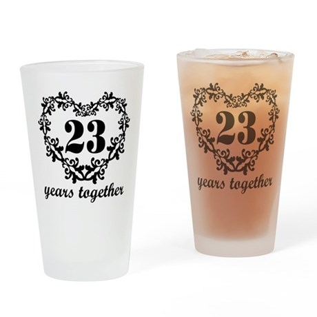 23rd Anniversary Heart Drinking Glass