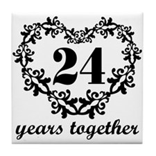 24th Anniversary Heart Tile Coaster