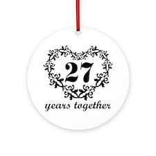 27th Anniversary Heart Ornament (Round)