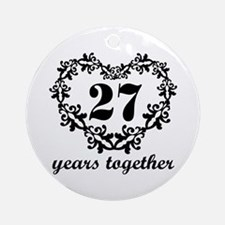 27th Anniversary Heart Ornament (Round)