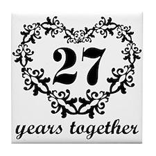 27th Anniversary Heart Tile Coaster