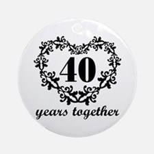 40th Anniversary Heart Ornament (Round)