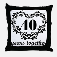 40th Anniversary Heart Throw Pillow