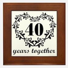 40th Anniversary Heart Framed Tile