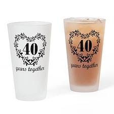 40th Anniversary Heart Drinking Glass