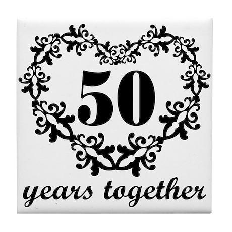 50th Anniversary Heart Tile Coaster